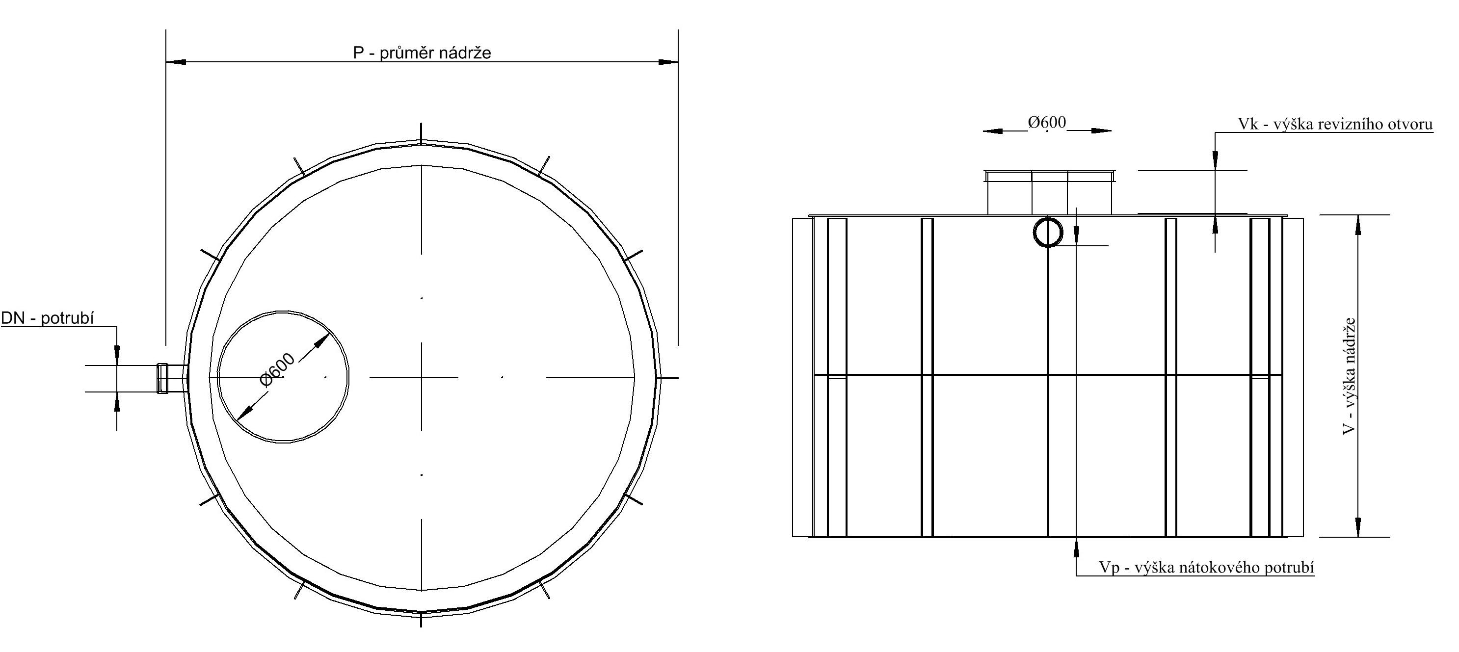 technický nákresy jímka kruhová k obetonování